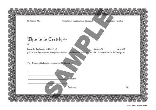 Share Certificate Standard Pack