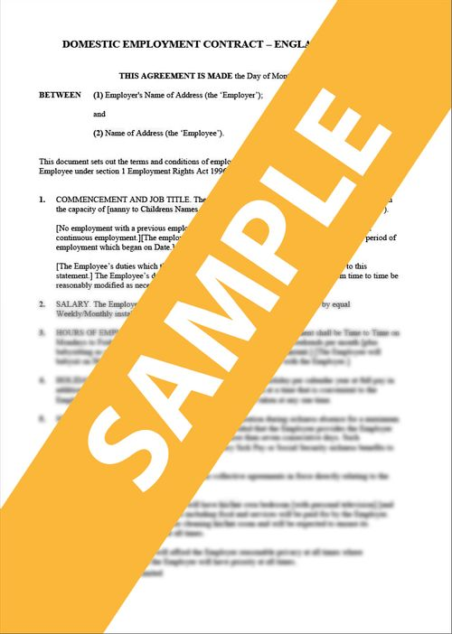 Domestic/Nanny Employment Contract